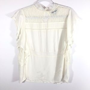 NWOT Express White Lace Ruffle Sleeved Blouse